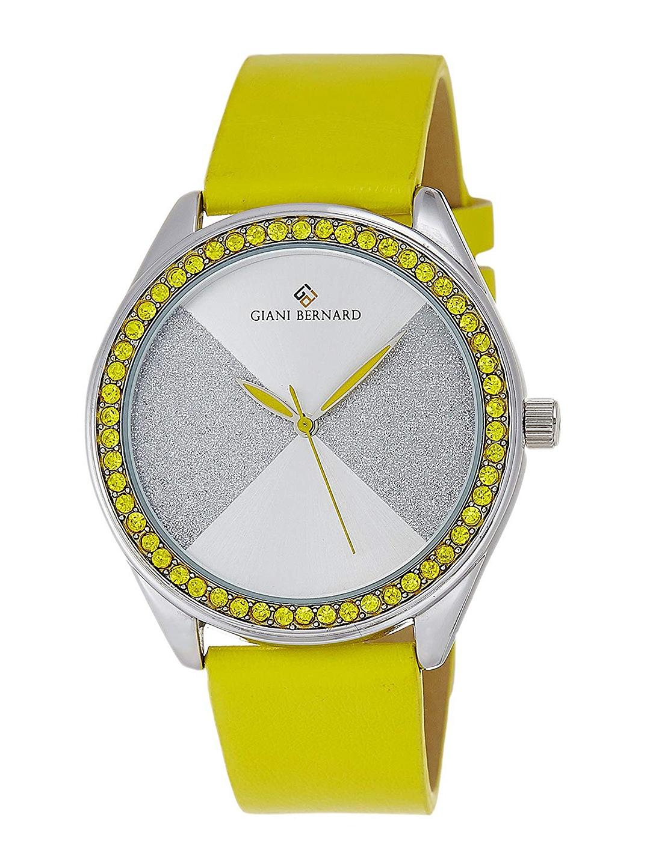 Giani Bernard Men Silver Toned   Yellow Analogue Watch  GB 1111B