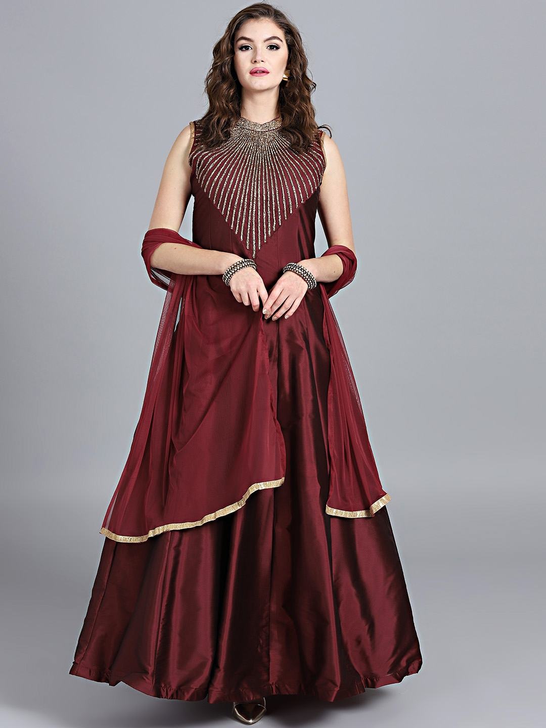 special discount of exquisite craftsmanship well known Chhabra 555 Maroon Embellished Stitched Made to Measure Cocktail Gown with  Dupatta