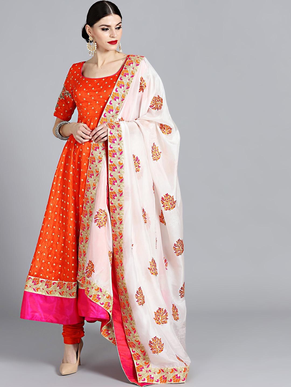 e688c9796b Bollywood Vogue Orange Made to Measure Embroidered Kurta with Churidar &  Dupatta