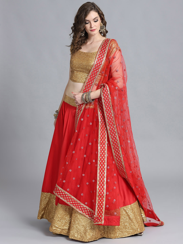 da9784c432a6d Buy Bollywood Vogue Red & Golden Made To Measure Umbrella Lehenga & Blouse  With Dupatta - Lehenga Choli for Women 6971997 | Myntra