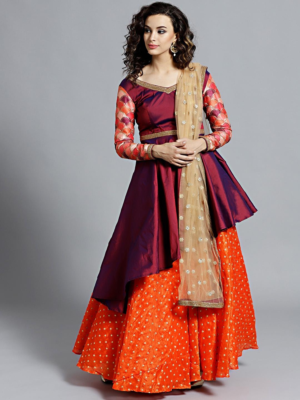 dbf733314 Bollywood Vogue Burgundy   Orange Made to Measure Lehenga   Blouse with  Dupatta