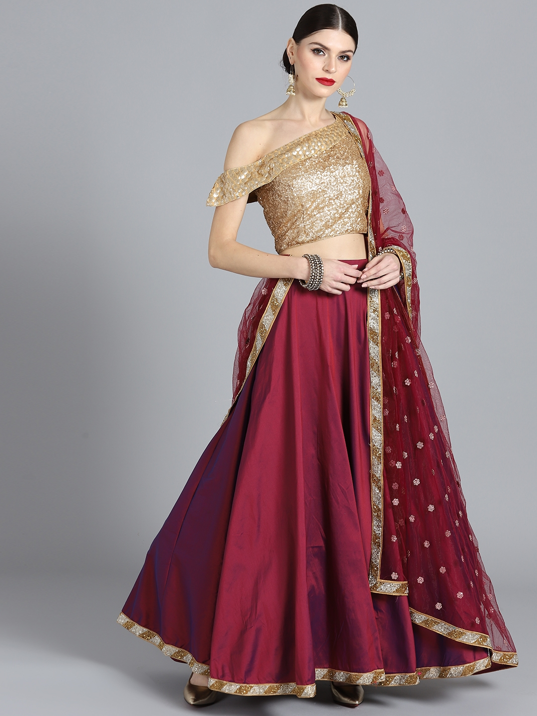 a69ec8c74 Bollywood Vogue Maroon   Golden Sequinned Made to Measure Lehenga Choli