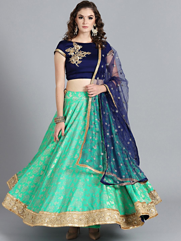 8bbc7e521 Buy Bollywood Vogue Navy Blue   Green Made To Measure Lehenga Choli ...