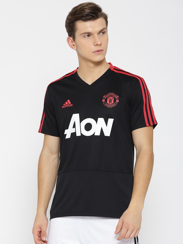 7eb472d9af2 Buy ADIDAS Men Black Printed Manchester United FC Training Jersey ...