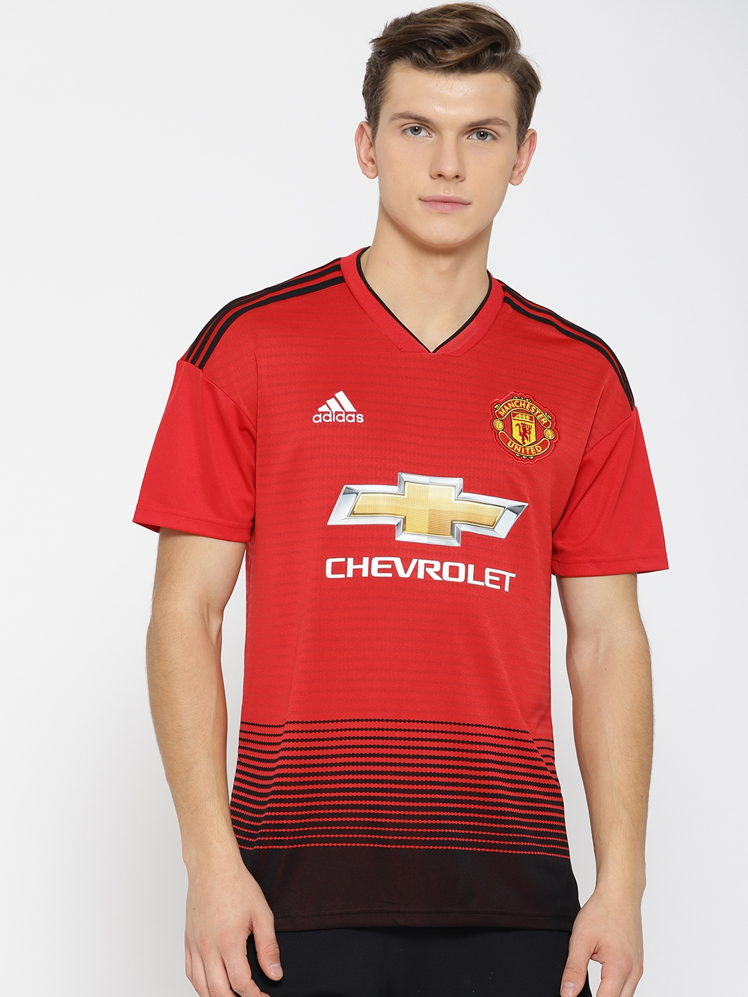 2b70592db16 ADIDAS Men Red   Black Striped Manchester United FC Home Football Jersey