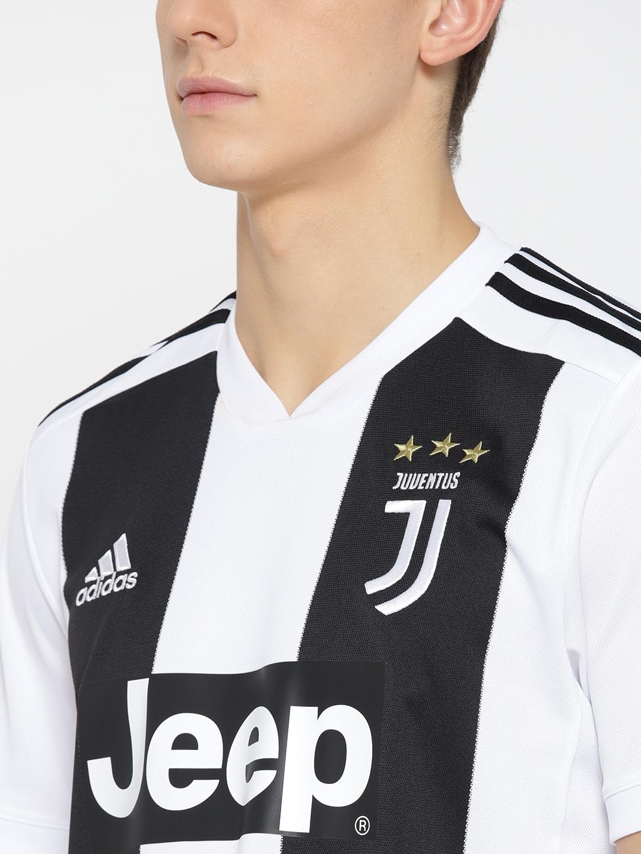 19dd2a729e8 Buy ADIDAS Men White   Black Striped Juventus Home Football Jersey ...