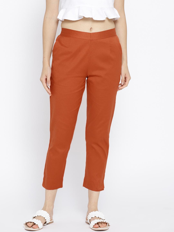 AURELIA Women Rust Orange Regular Fit Solid Cropped Trousers