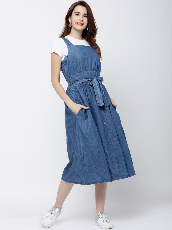 5ec75e4fe44 Buy Tokyo Talkies Women Blue Solid Pinafore Dress - Dresses for ...