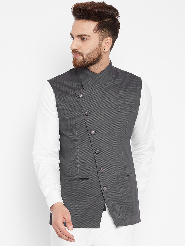 Nehru Coat Design | Buy Hypernation Men Grey Woven Design Nehru Jacket Nehru Jackets