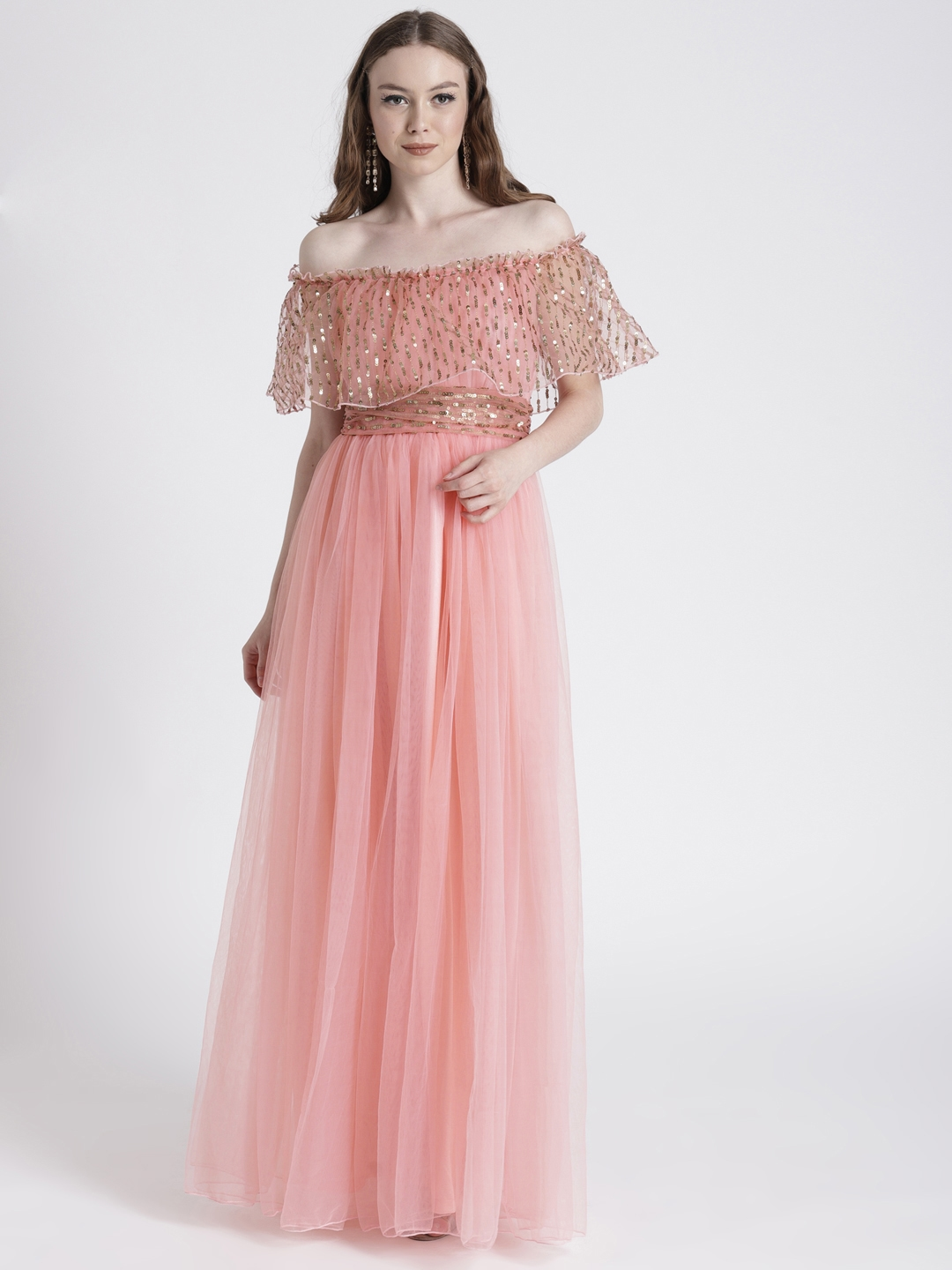 b625a966a10 Buy Benoit Women Pink Off Shoulder Maxi Dress With Sequinned Detail ...