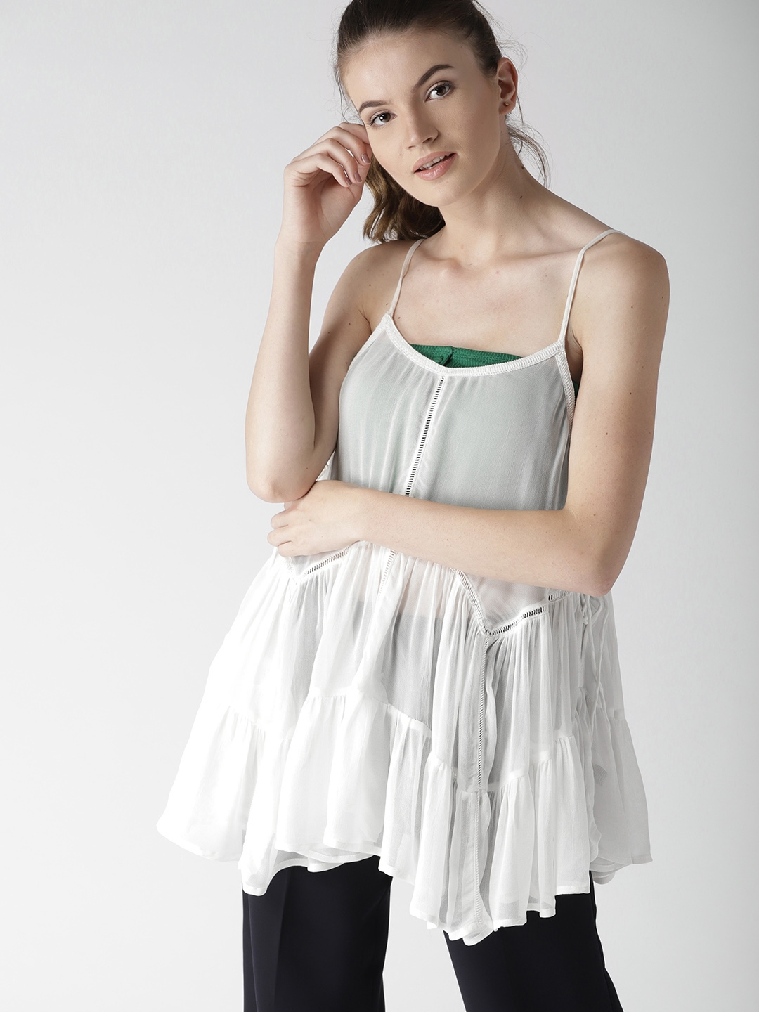 a7e8e35a9dc Buy FOREVER 21 Women White Solid Tiered Top - Tops for Women 6979461 ...