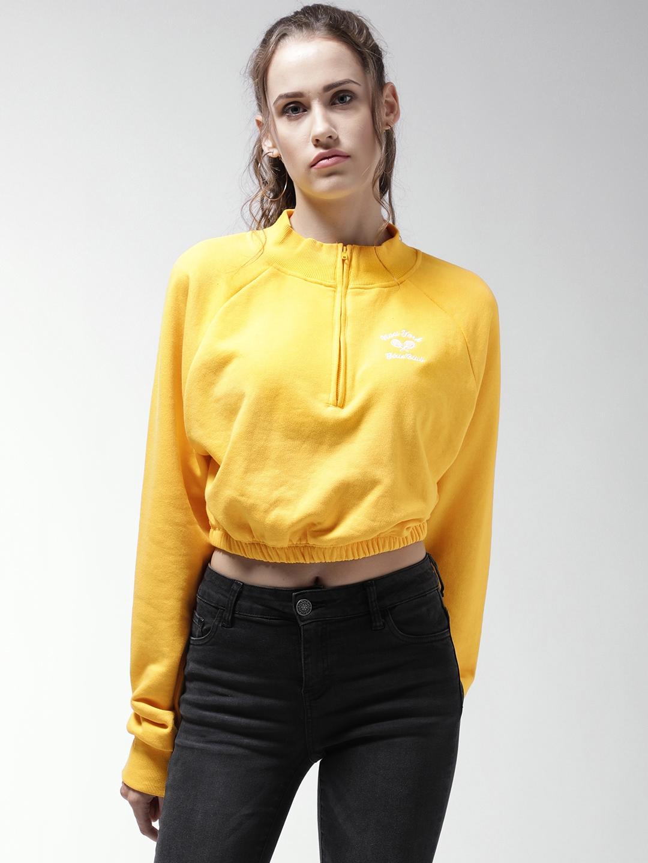 3c36f716f78764 Buy FOREVER 21 Women Yellow Solid Cropped Sweatshirt - Sweatshirts ...