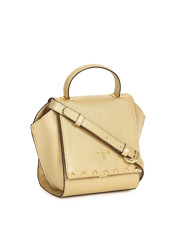 Buy da milano gold toned solid genuine leather handheld bag jpg 1080x1440 Gold  leather handbags 3a1d6400d23da