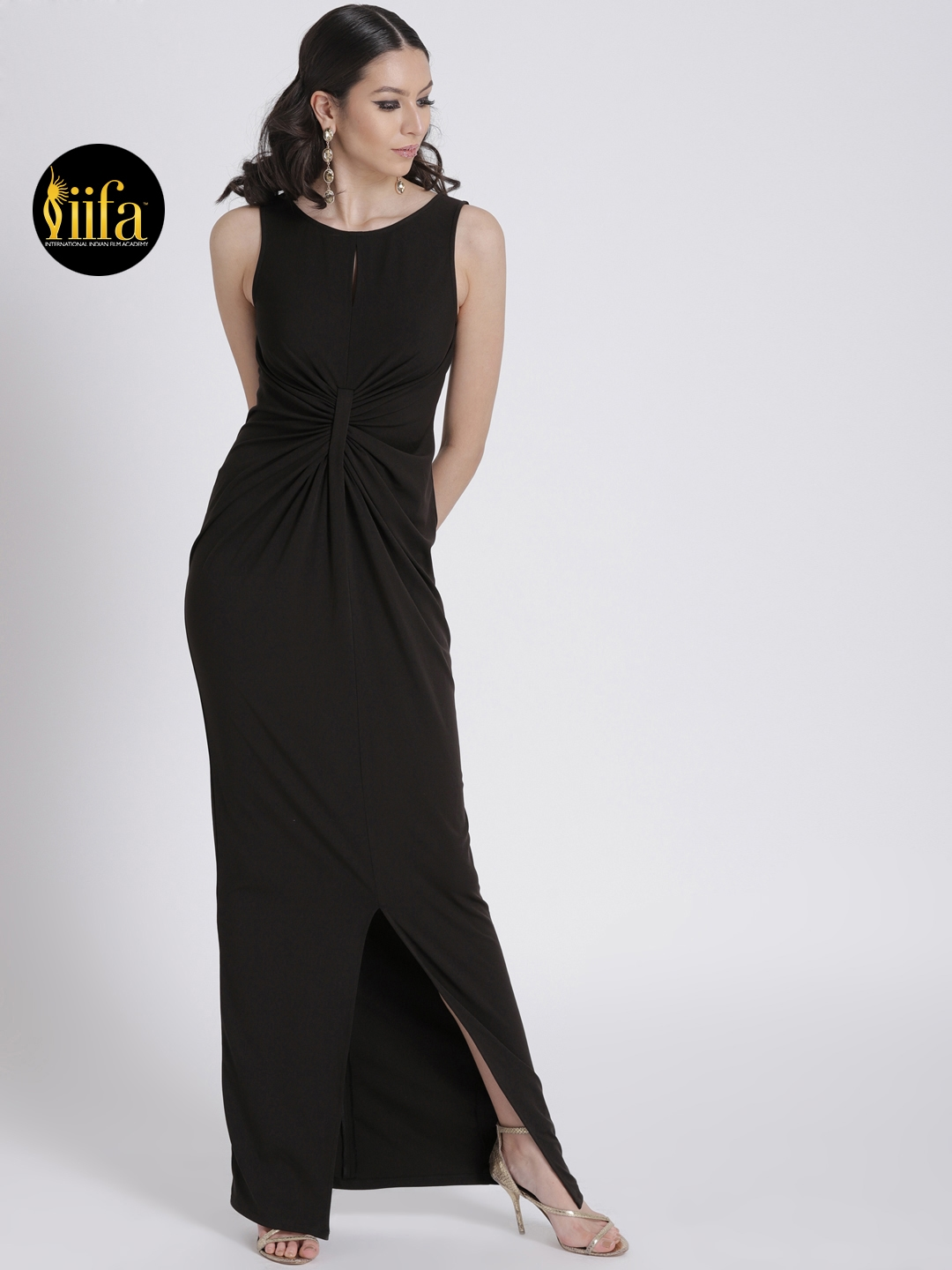 3a33f68f49 Buy FabAlley Women Black Solid Front Knotted Maxi Dress - Dresses ...