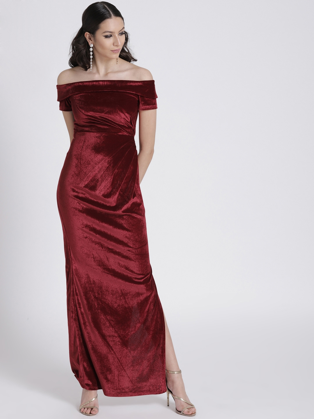 9fe84ea3df3 Buy FabAlley Women Maroon Velvet Off Shoulder Maxi Dress - Dresses ...