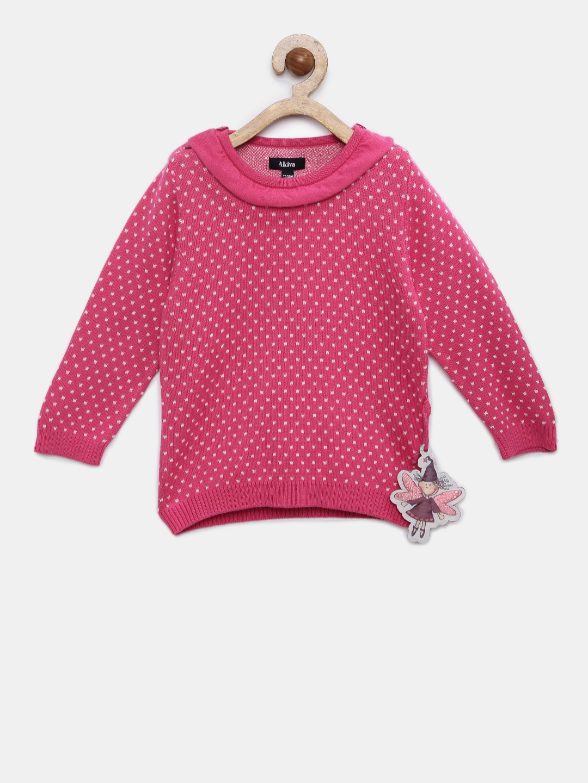 ed5da3c634b Buy Akiva Girls Pink Self Design Woolen Sweater - Sweaters for Girls ...