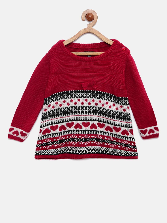 9646c469ed81 Buy Akiva Girls Maroon   White Self Design A Line Sweater Dress ...