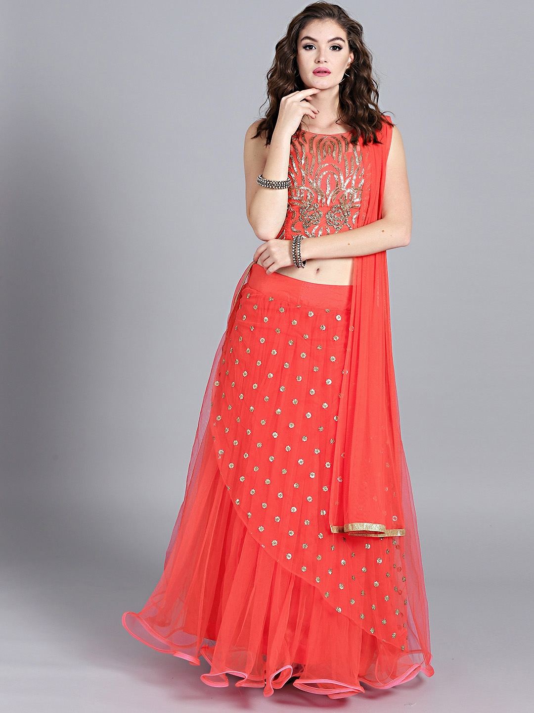 542e42d95 Chhabra 555 Coral Red   Golden Hand Embroidered Stitched Made to Measure  Lehenga Choli