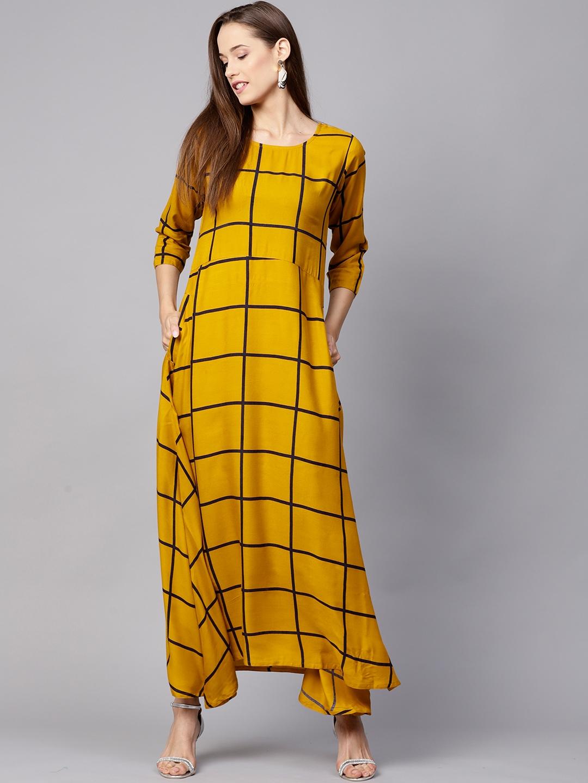 Nayo Women Mustard Yellow Checked A-Line Kurta