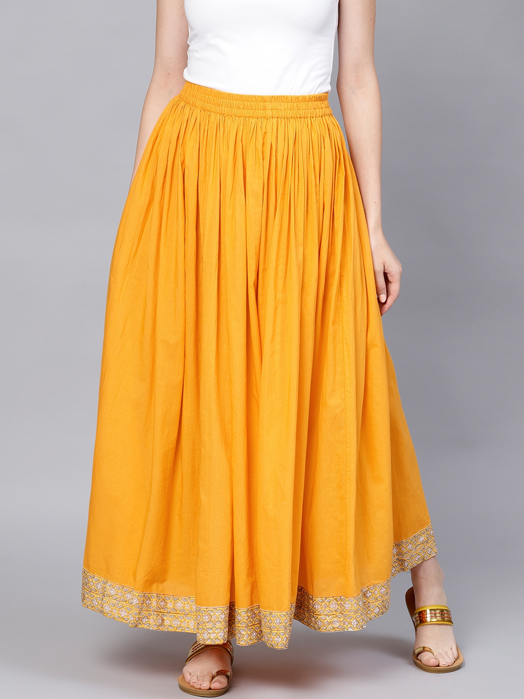 86a86e5b7 Buy Nayo Women Yellow Solid Maxi Flared Skirt - Skirts for Women ...