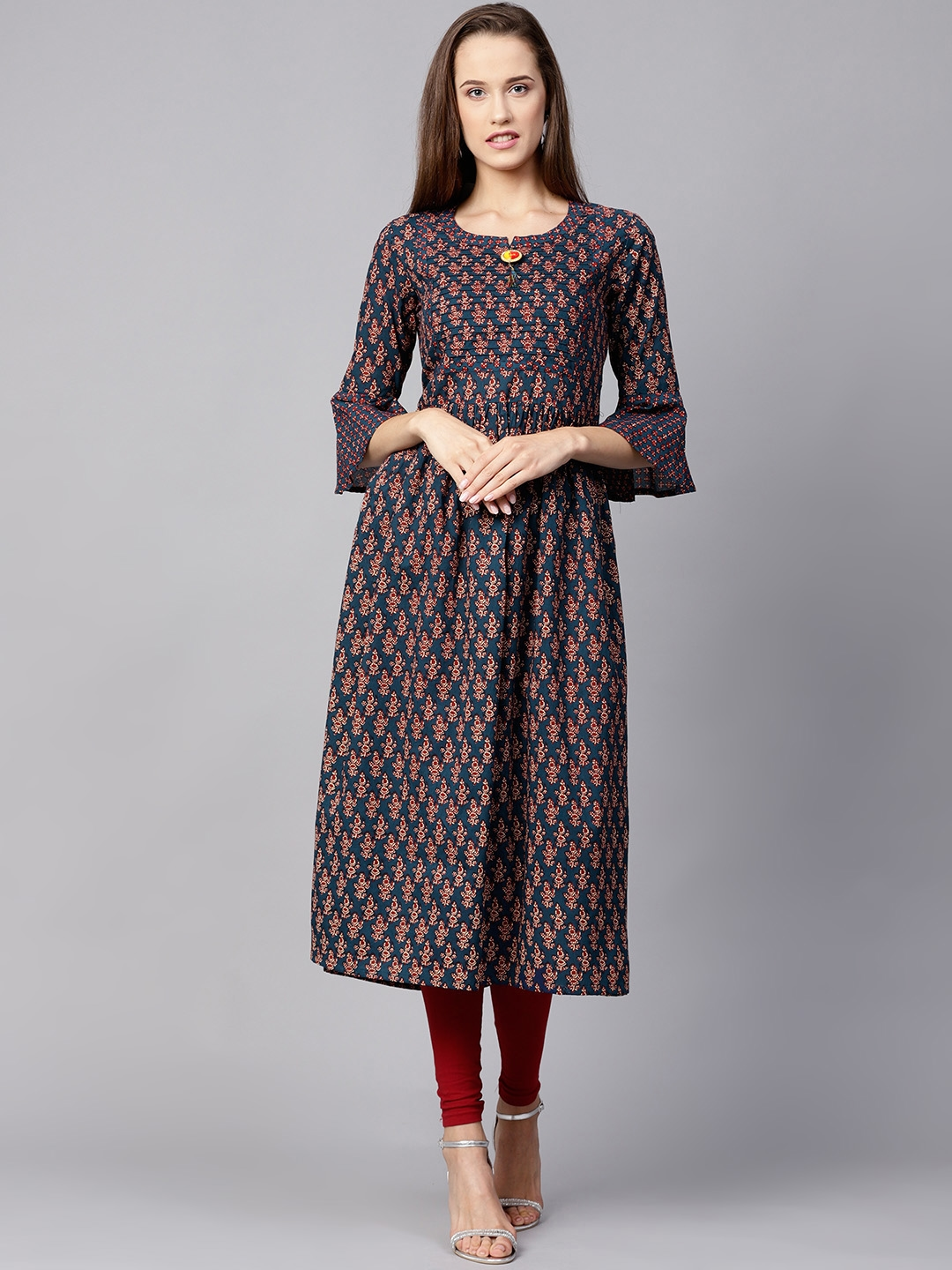 e7f6b0817 Buy Nayo Women Navy Blue   Maroon Printed A Line Kurta - Kurtas for ...