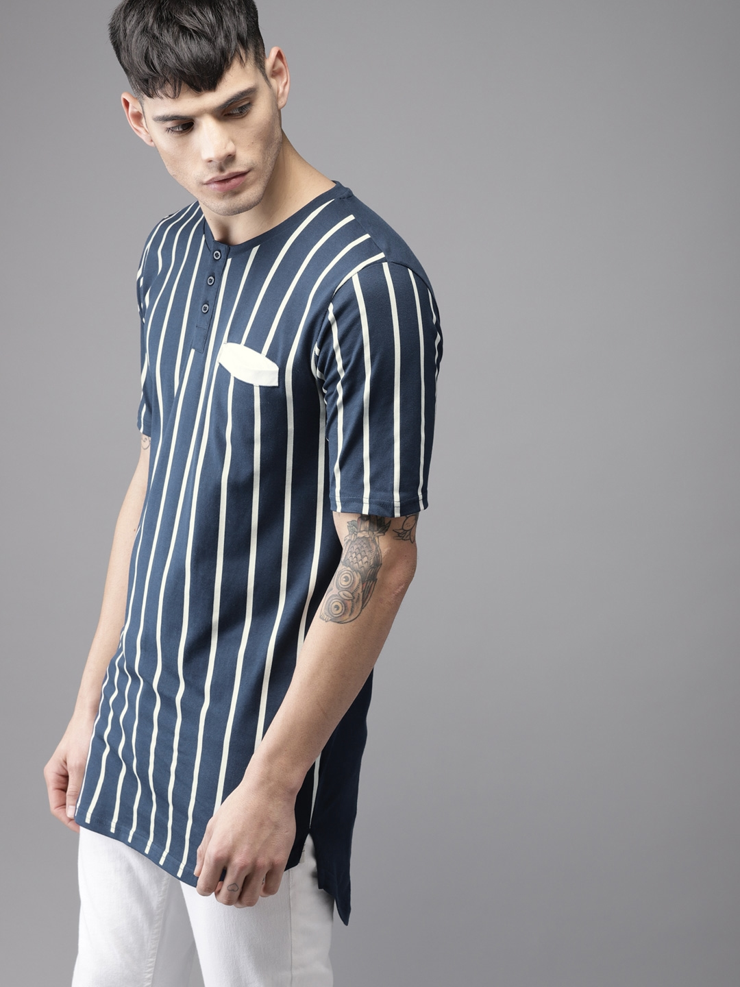 c465cdc1d Buy Moda Rapido Men Navy & Off White Striped Henley Neck Longline T ...