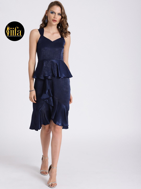 f24d88855a Buy Zink London Women Navy Blue Ruffled Peplum Dress With Sheen ...