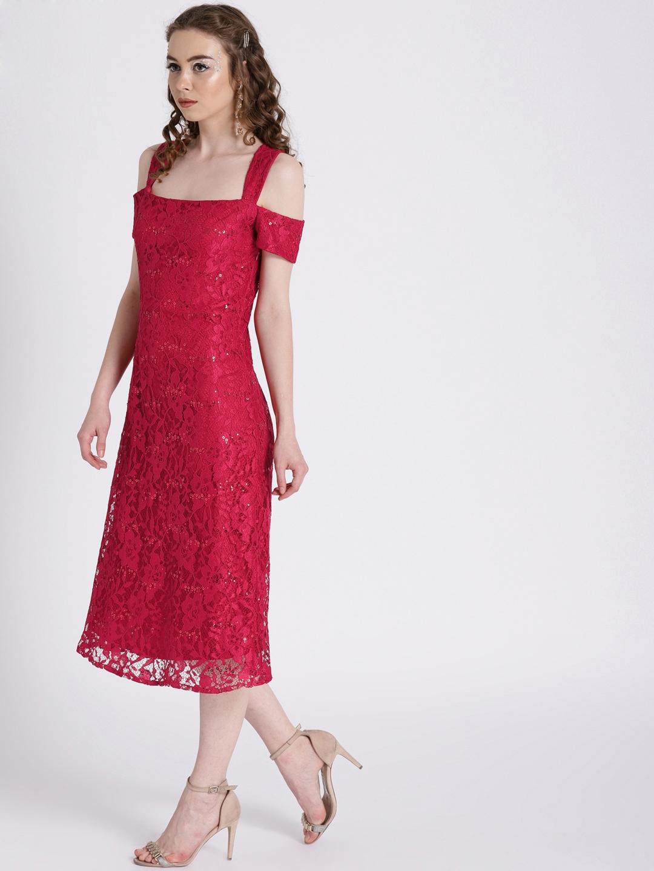 d23371eff3e6b Buy Zink London Women Red Embellished Lace Sheath Dress - Dresses ...