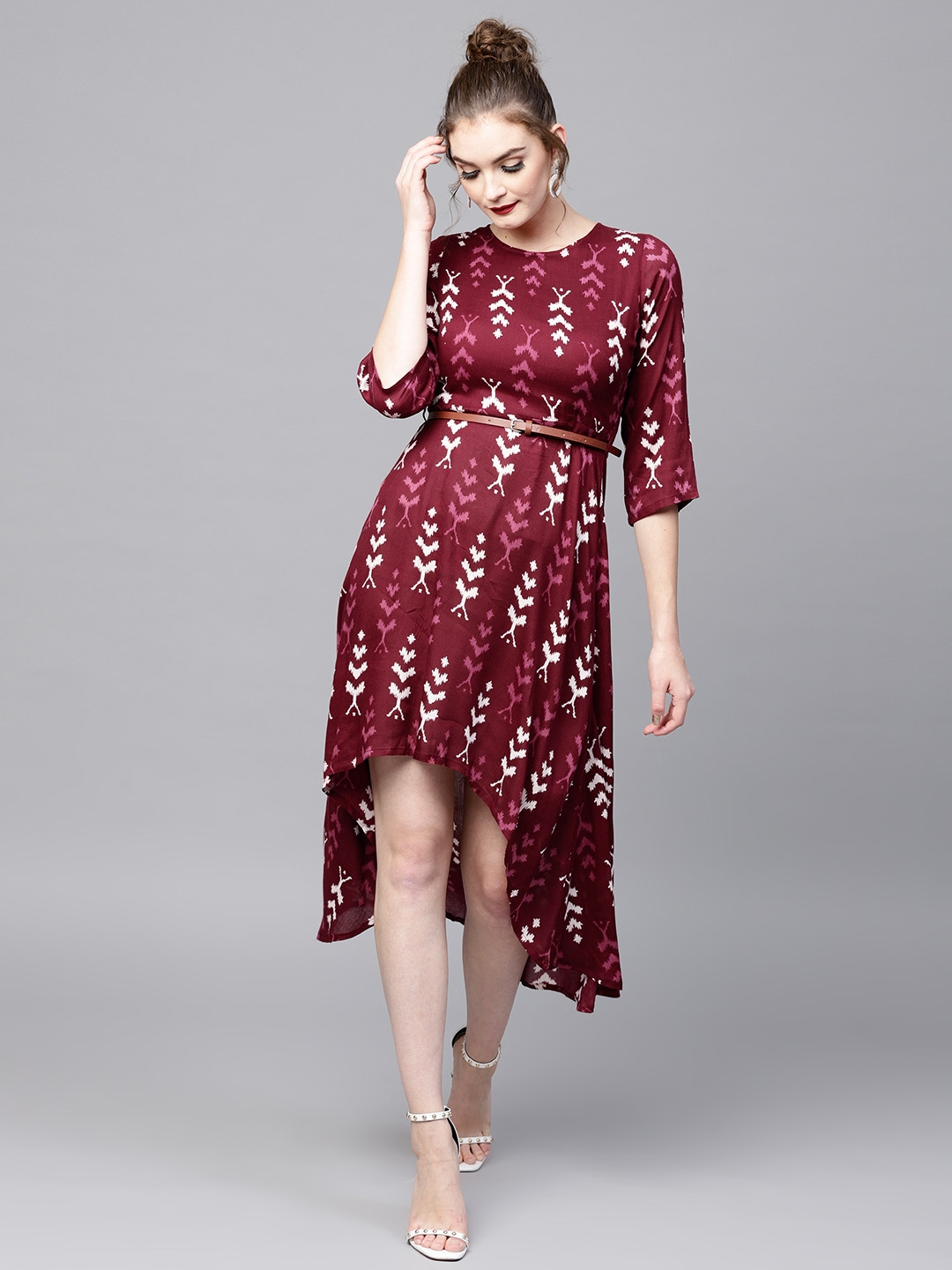 22acd7bb15 Buy SASSAFRAS Women Maroon Ikat Print High Low A Line Dress ...