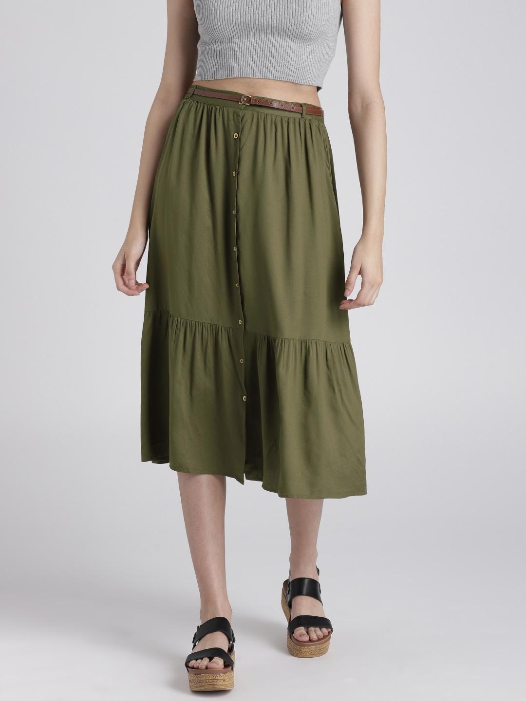 14a08504ac Green A Line Midi Skirt   Saddha