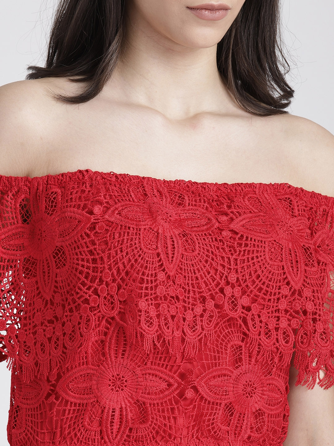 a3f12c08582b23 Buy Splash Women Red Lace Bardot CropTop - Tops for Women 6991975 ...