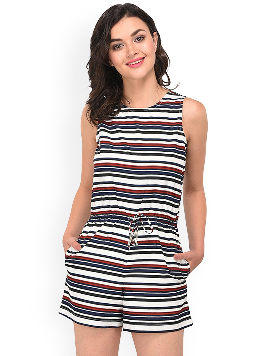 412ff94369 Buy PURYS White   Navy Blue Striped Playsuit - Jumpsuit for Women ...