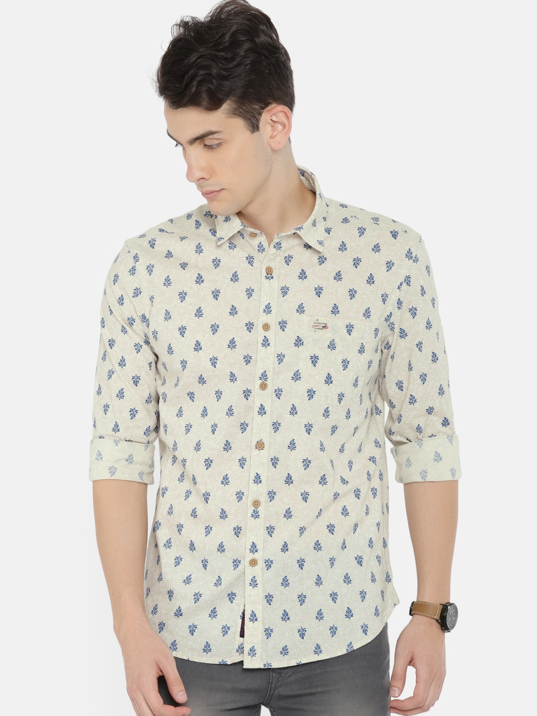 b95da067 U.S. Polo Assn. Denim Co. Men Cream-Coloured Slim Fit Printed Casual Shirt