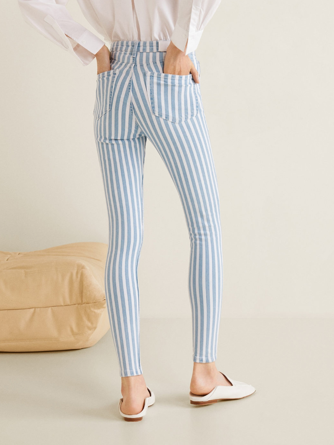 Buy MANGO Women White   Blue Striped Soho Skinny Fit High Rise Clean ... 0513c004b