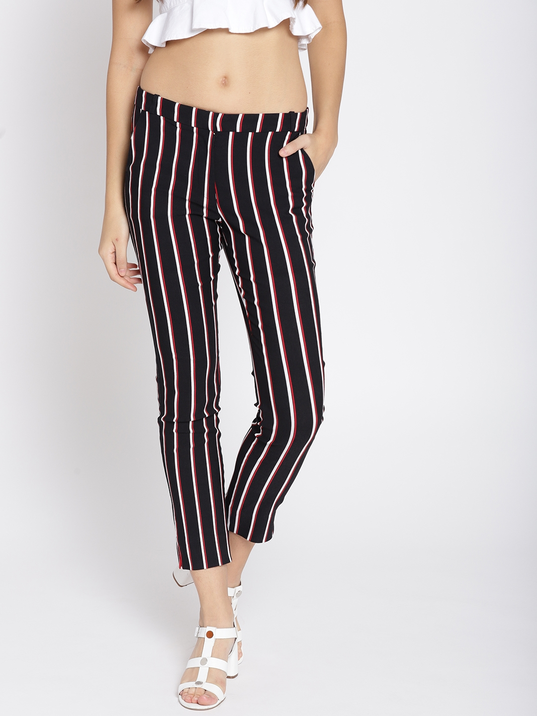 Buy MANGO Women Black   White Skinny Fit Striped Cropped Trousers ... 9d3382043
