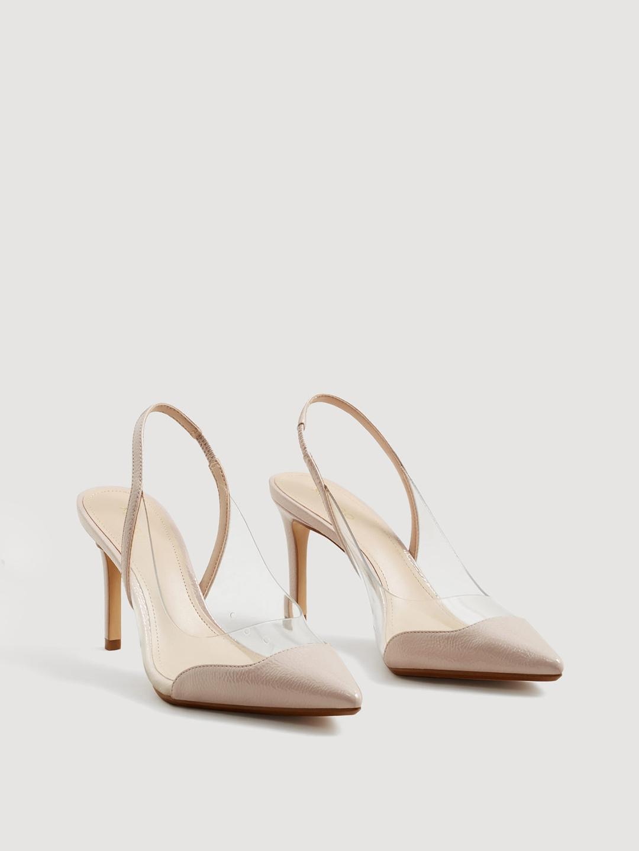 Pink \u0026 Transparent Solid Heels - Heels