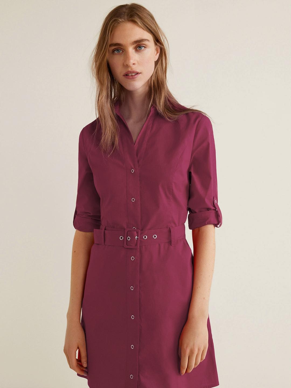 8584ecf90ec0 Buy MANGO Women Burgundy Solid Shirt Dress - Dresses for Women ...