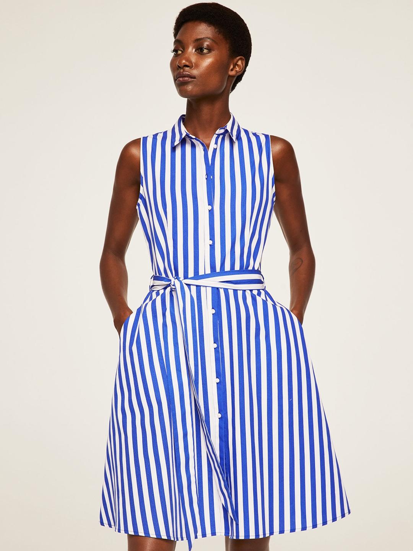 49857279 Buy MANGO Women Blue & White Striped Shirt Dress - Dresses for Women ...