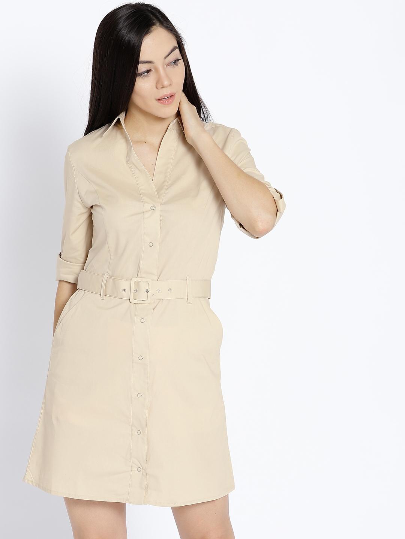 e009c094a26 Buy MANGO Women Beige Solid Shirt Dress - Dresses for Women 6995736 ...