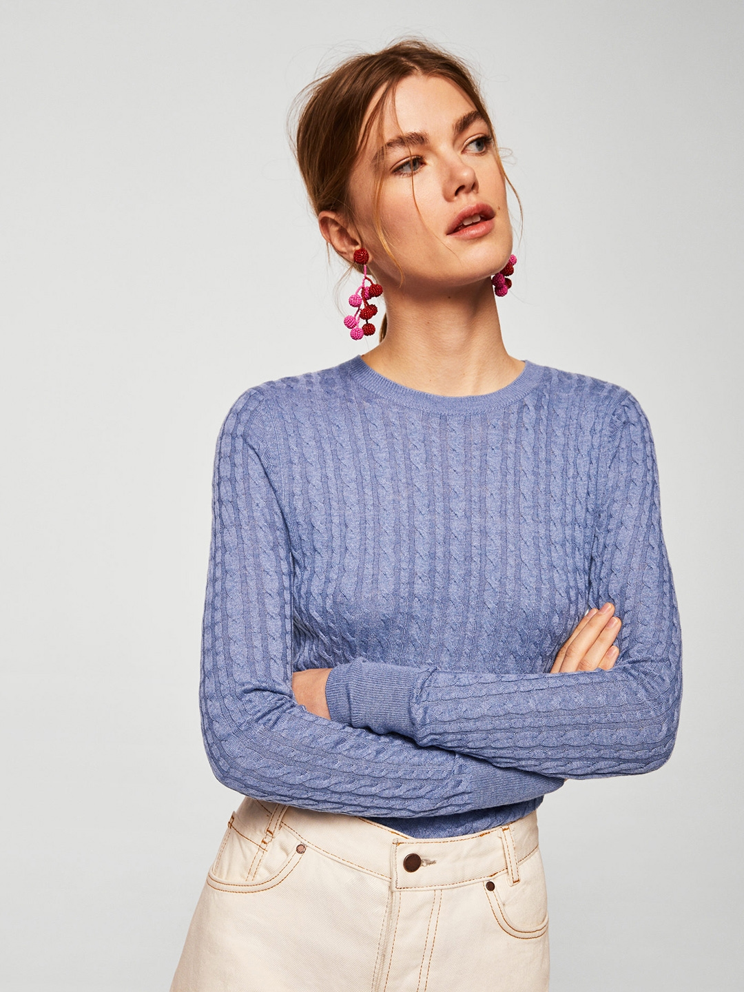 2446aa2908d048 Buy MANGO Women Blue Cable Knitted Pullover - Sweaters for Women ...