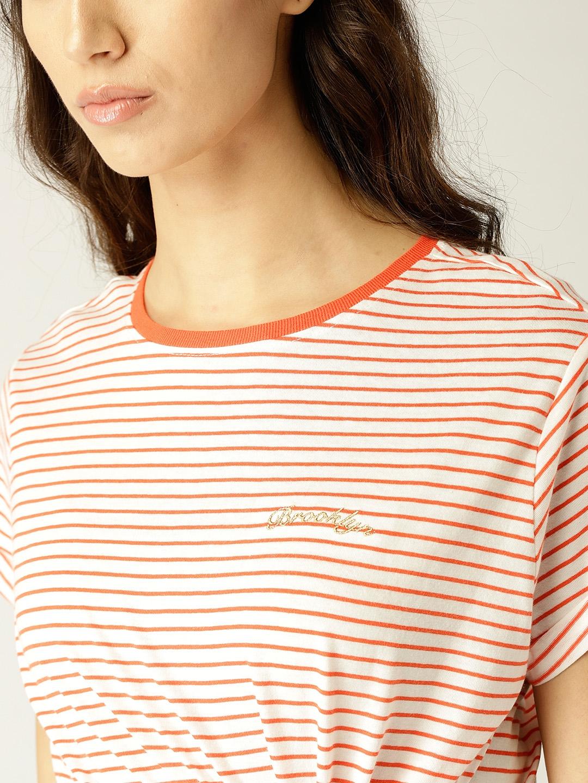 3d0e26d33 Buy MANGO Women White & Orange Striped Round Neck T Shirt - Tshirts ...