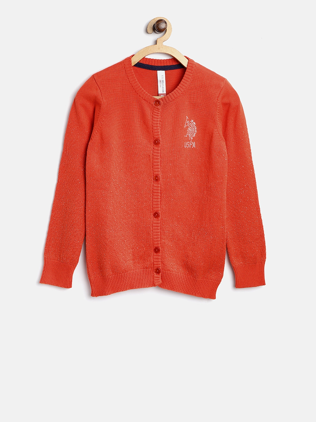 d25b0f1b8e545 Buy U.S. Polo Assn. Kids Girls Orange Solid Cardigan With Shimmer ...