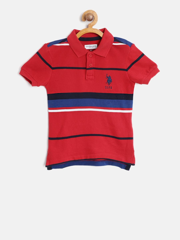 6d6b75a3 Buy U.S. Polo Assn. Kids Boys Red & Blue Striped Polo Collar T Shirt ...