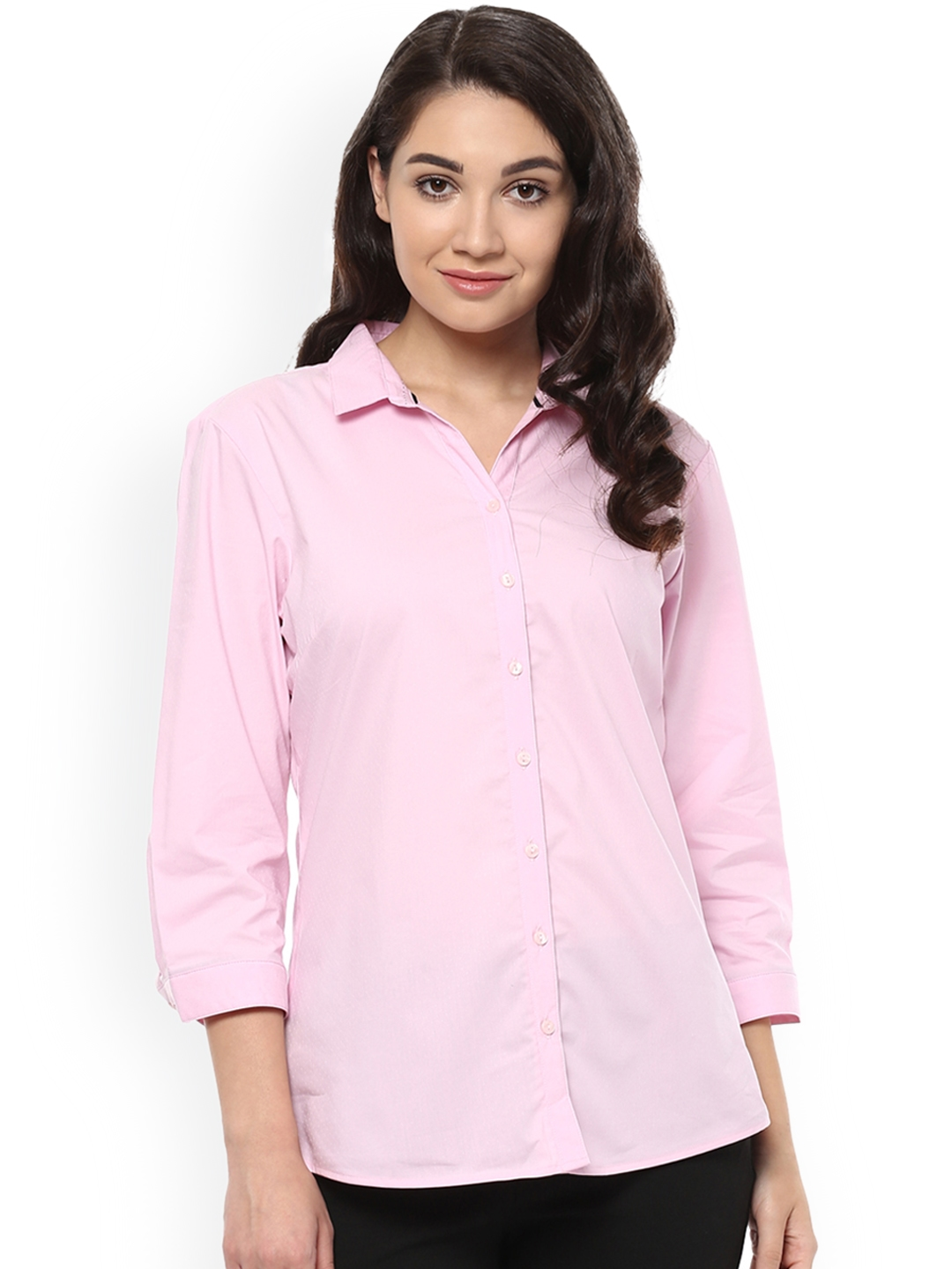 Allen Solly Woman Pink Solid Formal Shirt