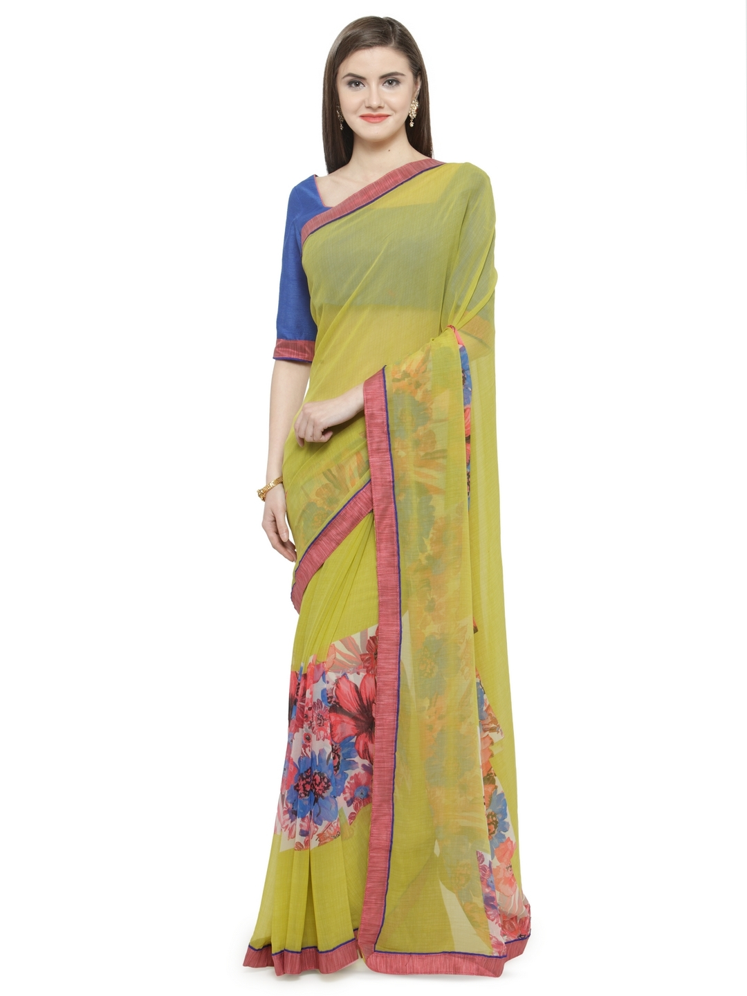 9e31bd411a5 Buy Shaily Yellow   Pink Pure Georgette Printed Saree - Sarees for ...