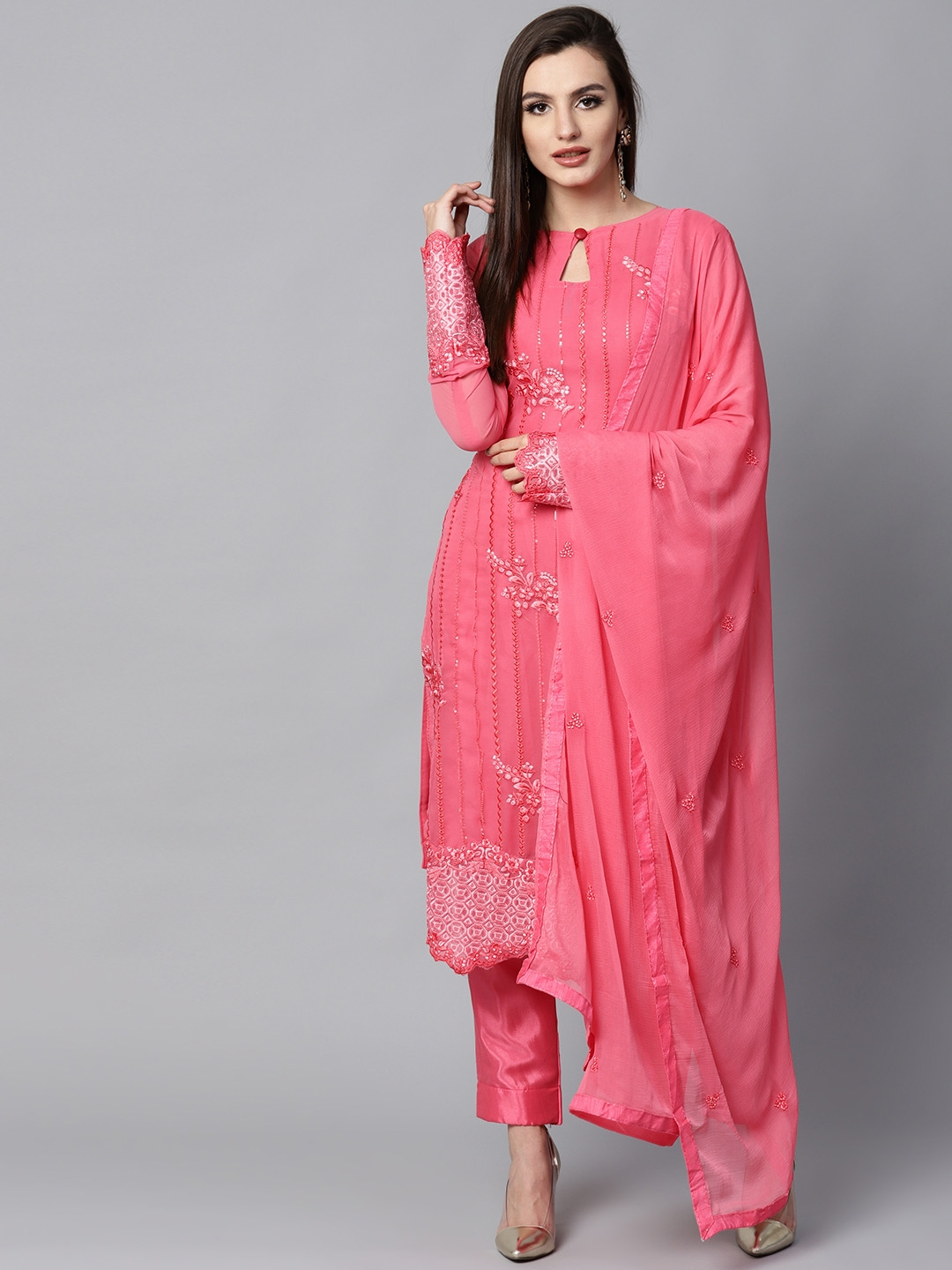 796c77094 Buy Saree Mall Pink Embroidered Semi Stitched Dress Material - Dress ...