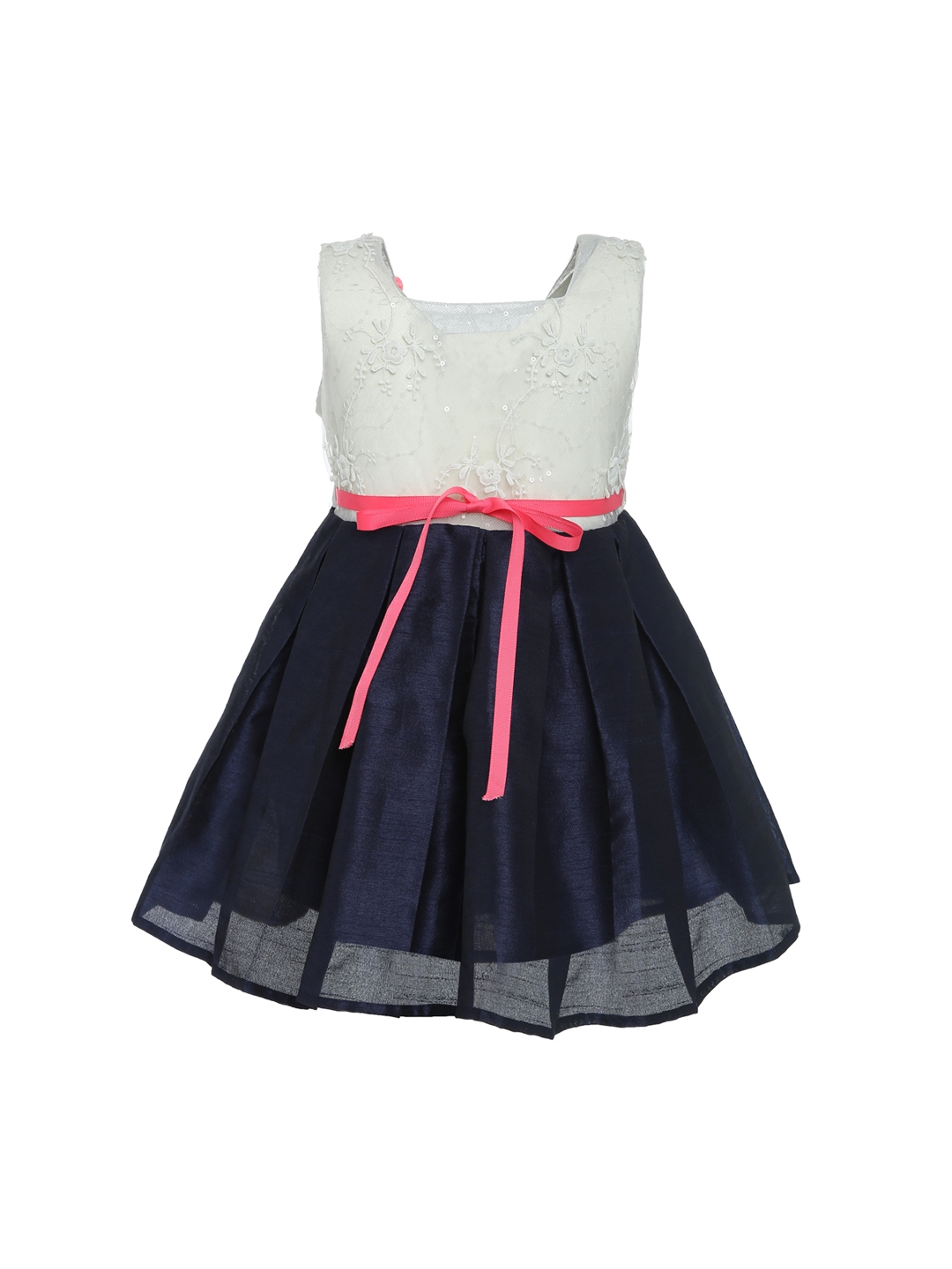 f169e9e5039c A Little Fable Girls Navy Blue   Off White Self Design Fit and Flare Dress