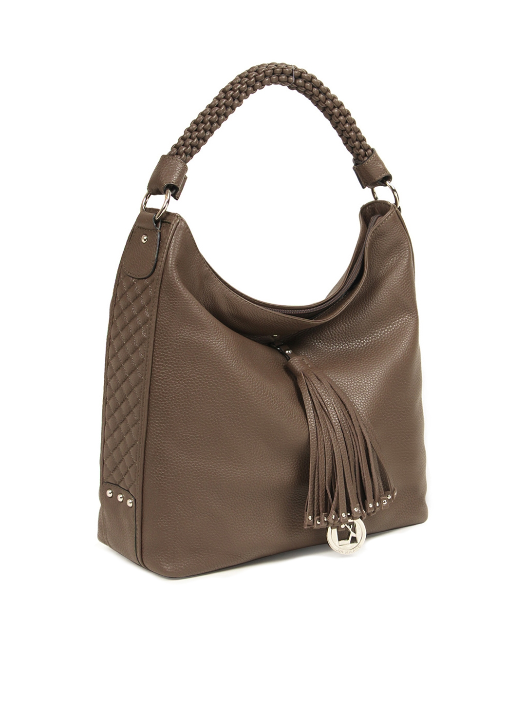 Buy Da Milano Brown Solid Genuine Leather Hobo Bag - Handbags for ... 238d11aafe