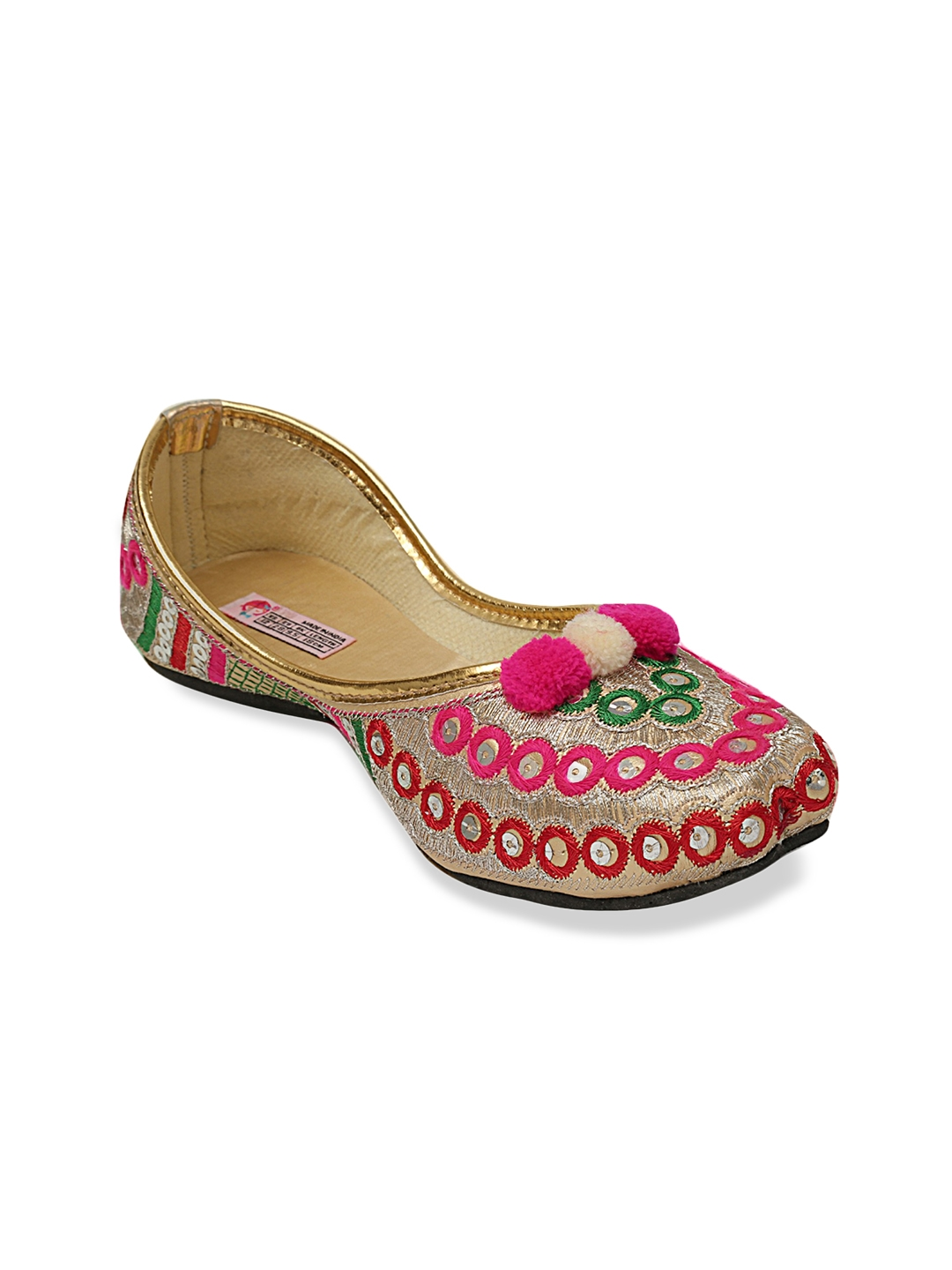 f587691328b6 Buy DChica Girls Gold Toned Woven Design Embellished Mojaris - Flats ...