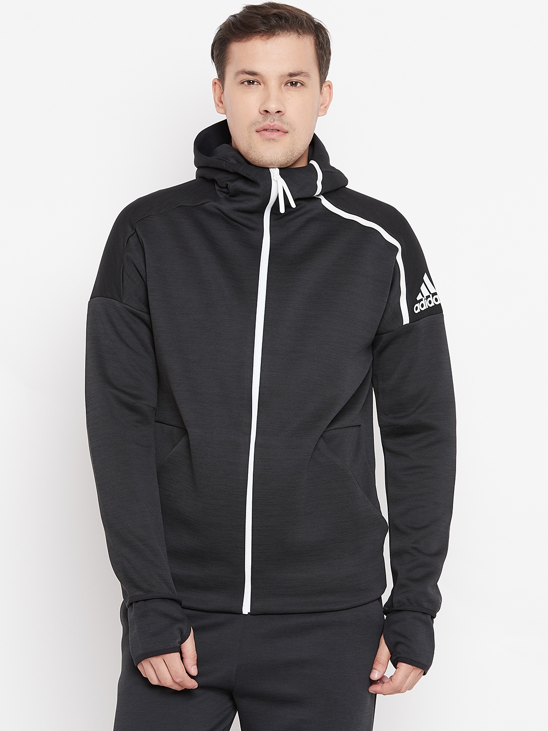 adidas Z.N.E. Fast Release Zipper Zip Hoodie Men Grey